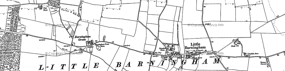 Old map of Barningham Green in 1885