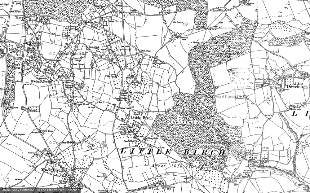 Old Map of Historic Map covering Athelstans Wood in 1886
