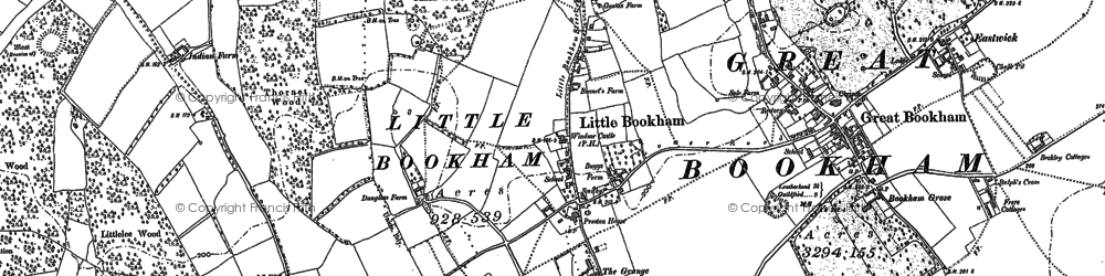 Old map of Little Bookham in 1894