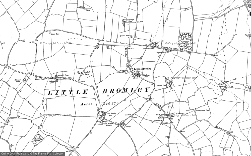 Old Map of Historic Map covering Badley Hall in 1896