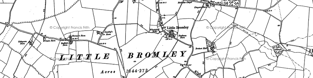 Old map of Badley Hall in 1896