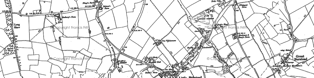 Old map of Great Burstead in 1895