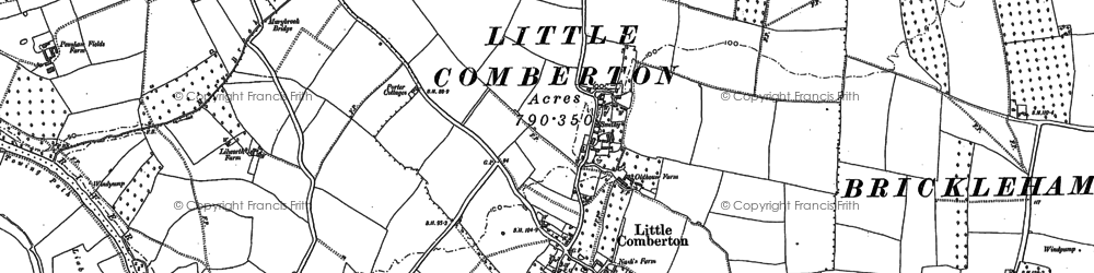 Old map of Little Comberton in 1884