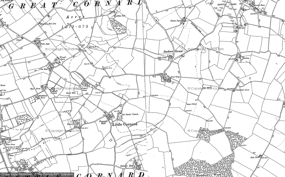 Old Map of Little Cornard, 1885 - 1902 in 1885
