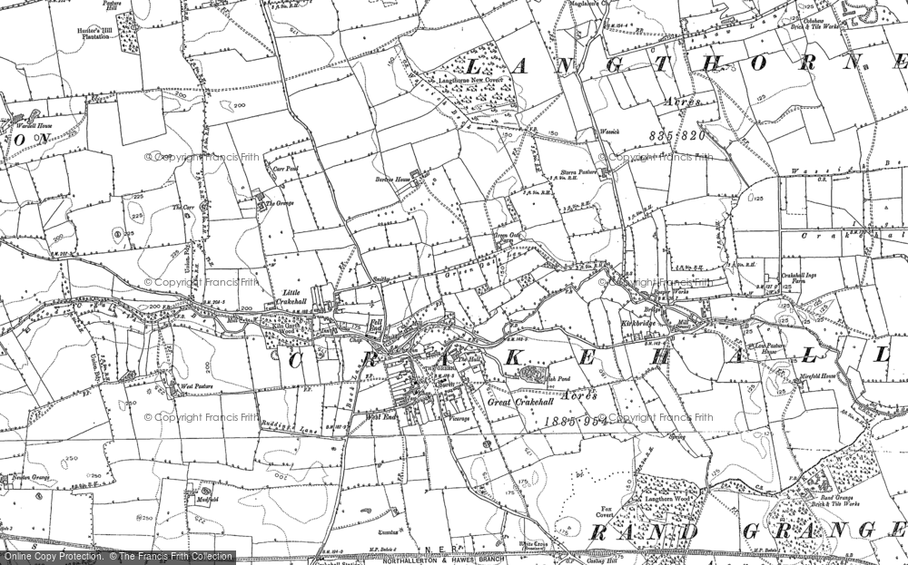 Old Map of Little Crakehall, 1890 - 1891 in 1890