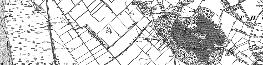 Old map of Little Crosby in 1892