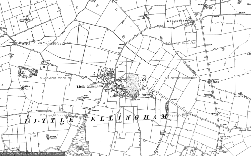Old Map of Historic Map covering Lingwhite in 1882