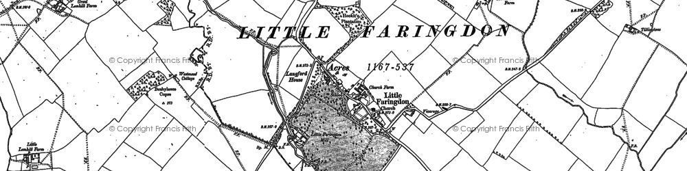 Old map of Langford Brook in 1896