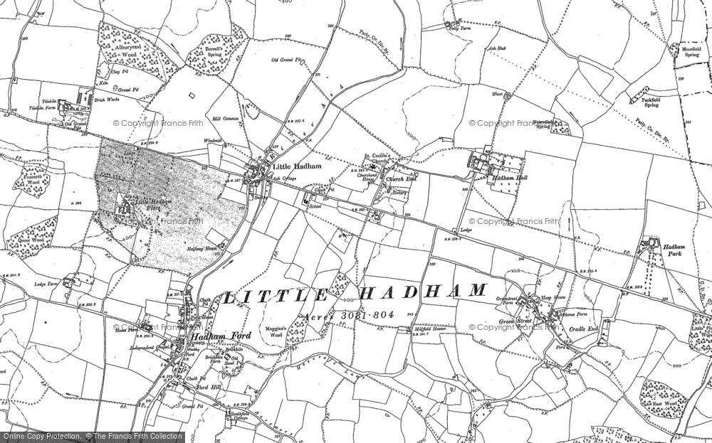 Old Map of Historic Map covering Albury End in 1896