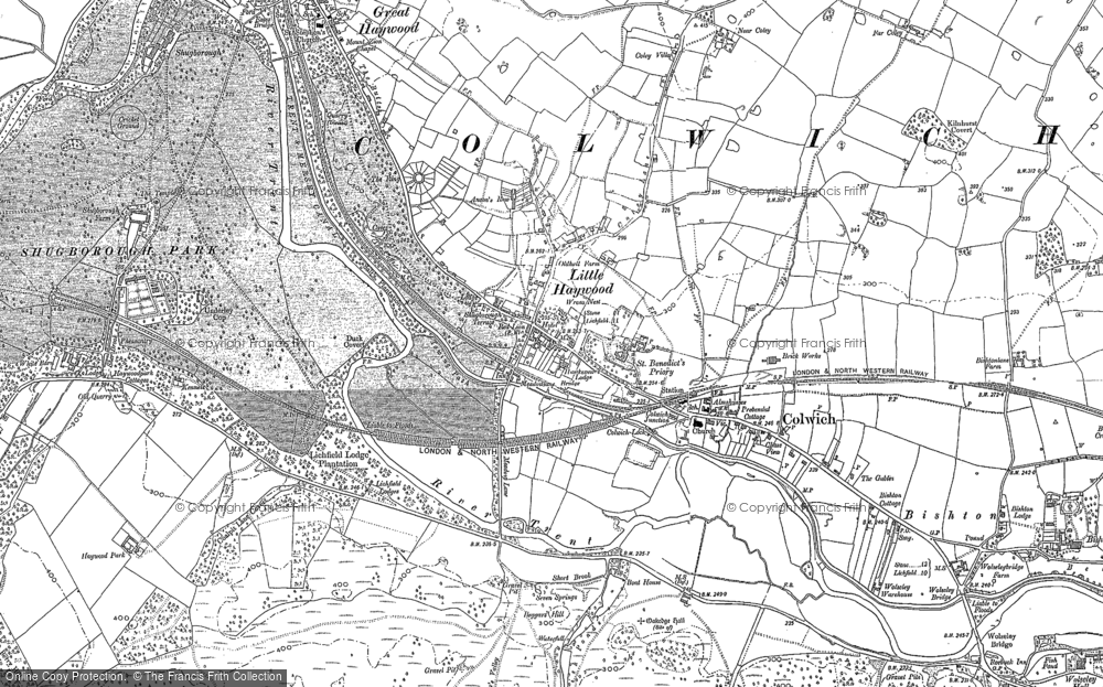 Old Map of Historic Map covering Abraham's Valley in 1881