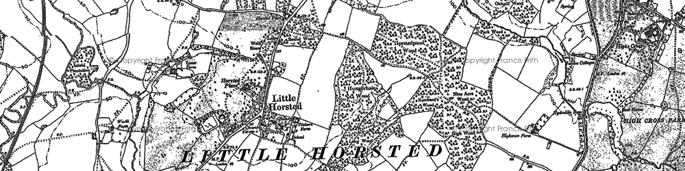 Old map of Wicklands in 1898