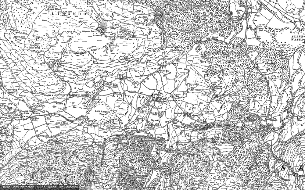 Old Map of Little Langdale, 1912 in 1912
