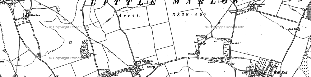Old map of Little Marlow in 1910