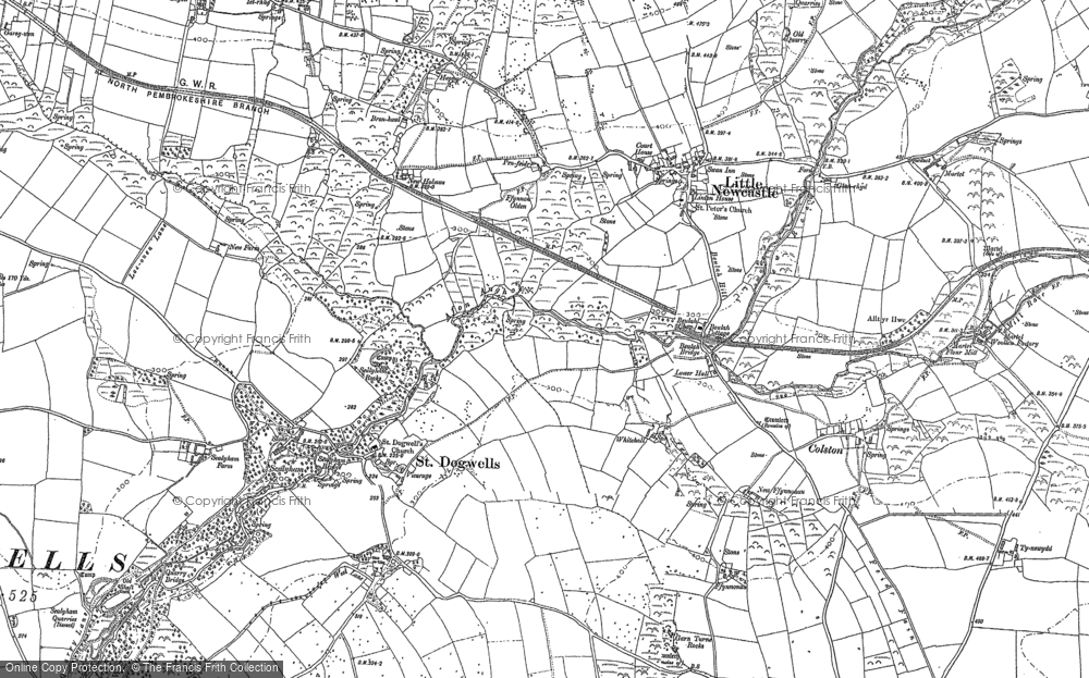 Old Map of Historic Map covering Afon Glan-rhyd in 1887