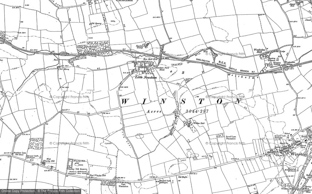 Old Map of Historic Map covering Whorlton High Grange in 1896
