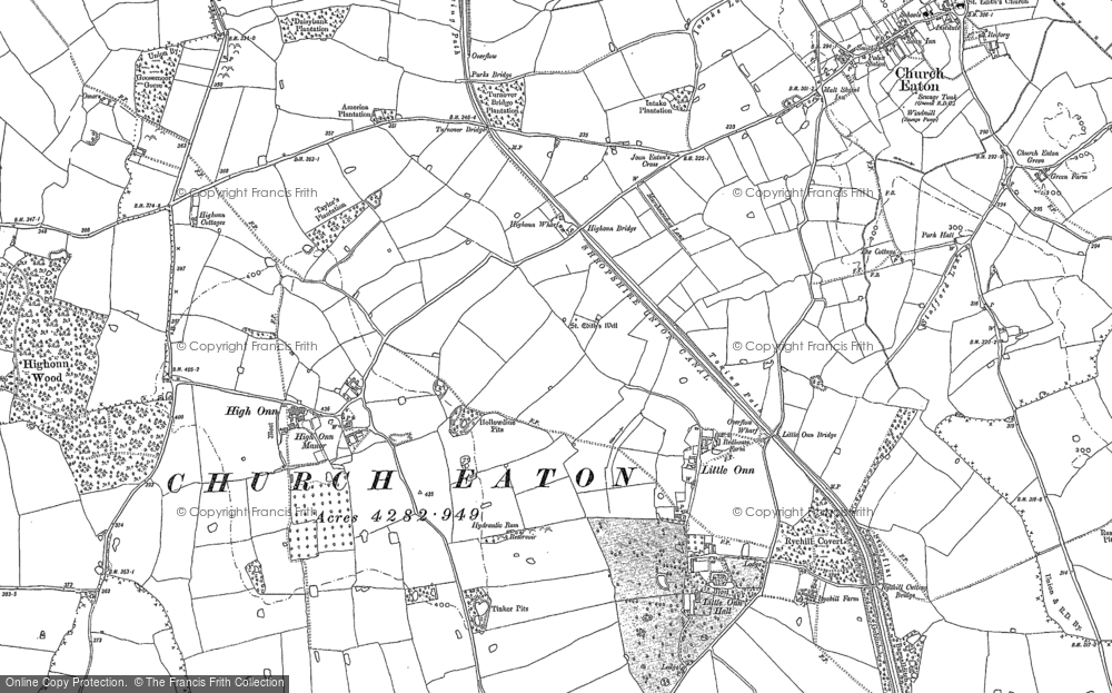 Old Map of Historic Map covering Woollaston in 1882