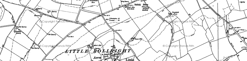 Old map of Whispering Knights in 1898