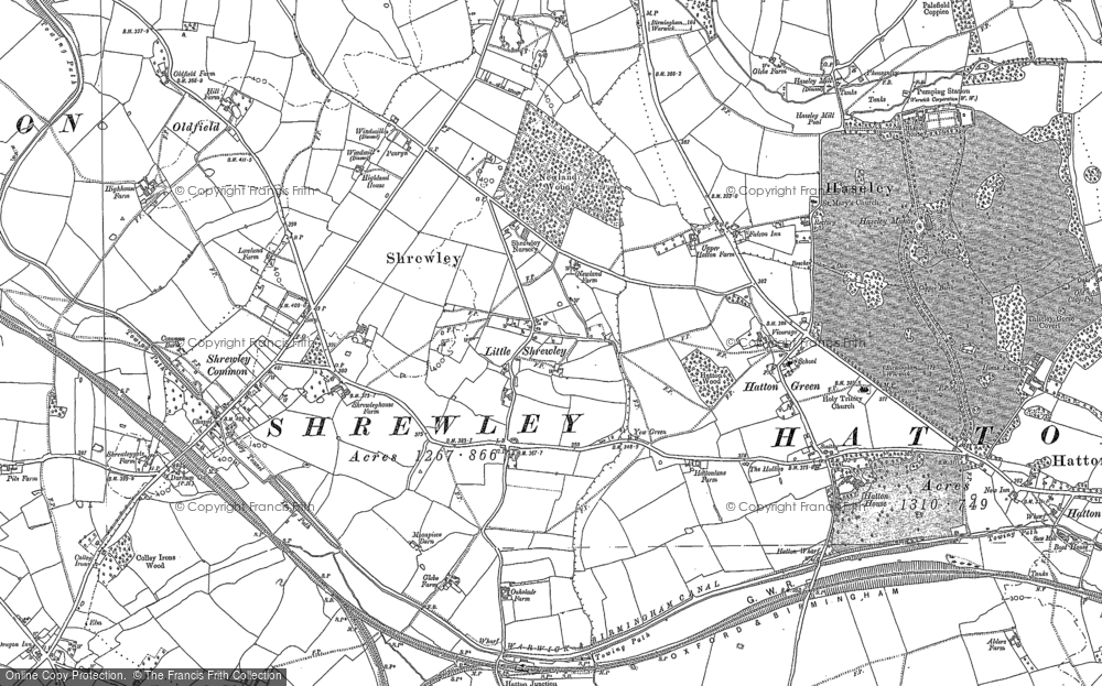 Old Map of Historic Map covering Yew Green in 1886