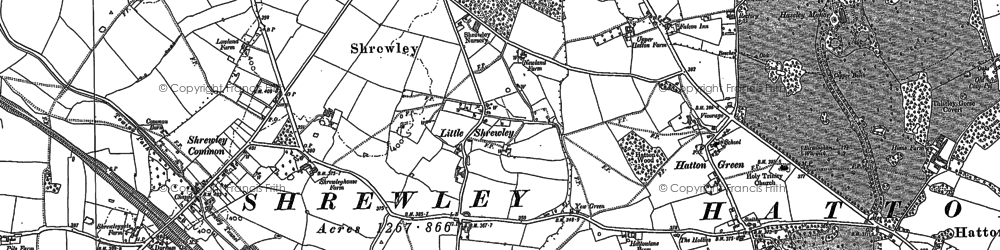 Old map of Yew Green in 1886