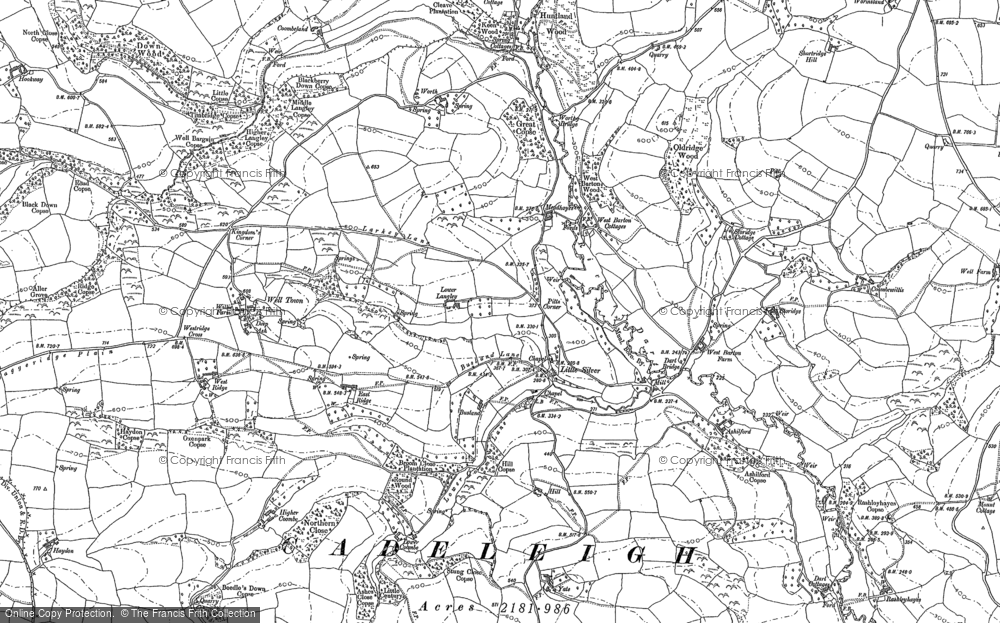 Old Map of Historic Map covering Ashilford in 1887