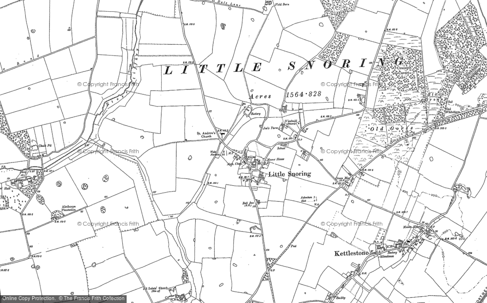 Old Map of Historic Map covering Alethorpe Hall in 1885