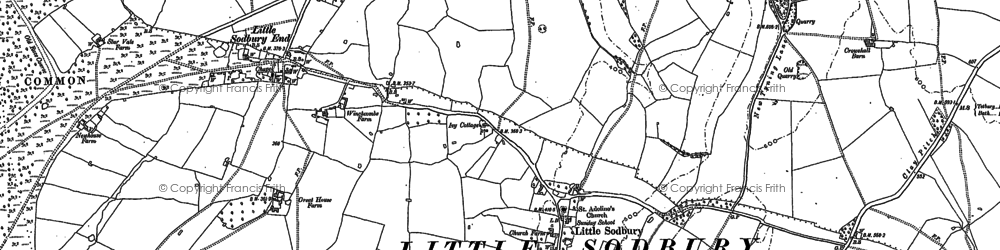 Old map of Little Sodbury in 1881