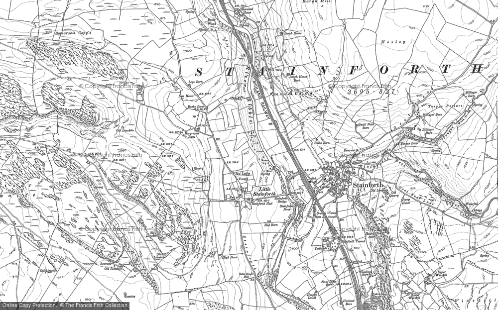 Old Map of Historic Map covering Bargh Ho in 1907