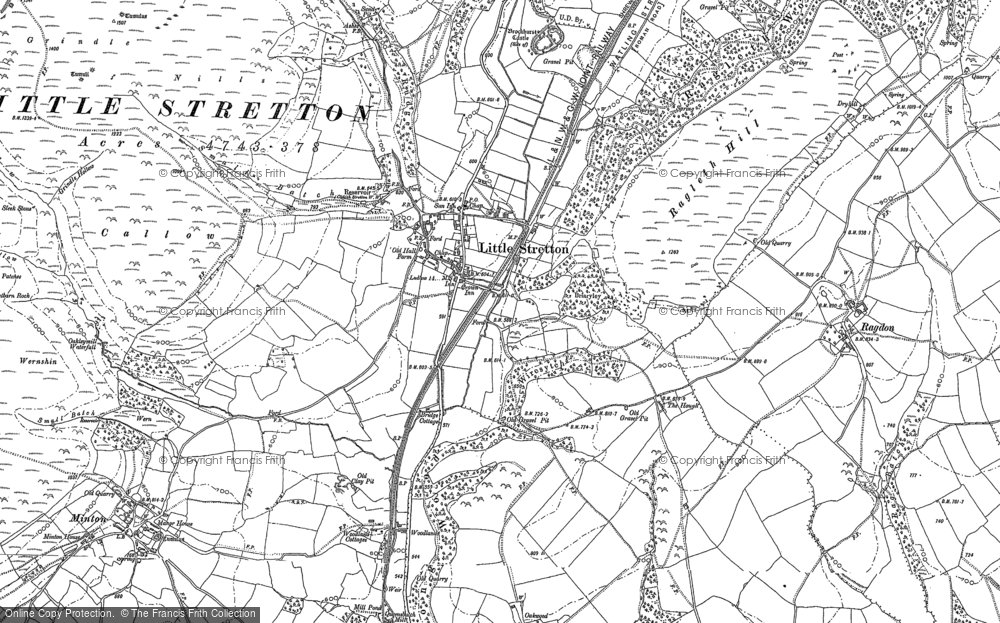 Old Map of Historic Map covering Ashes Hollow in 1882
