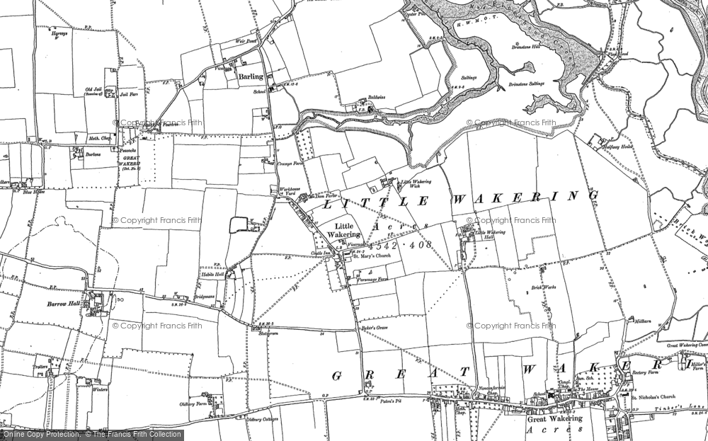 Map of Little Wakering, 1895 - 1896