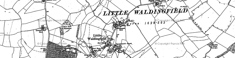 Old map of Little Waldingfield in 1885