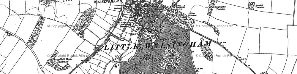 Old map of Little Walsingham in 1885