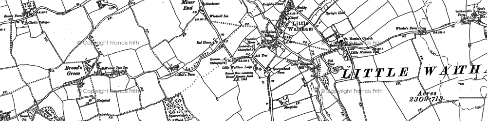 Old map of Little Waltham in 1895