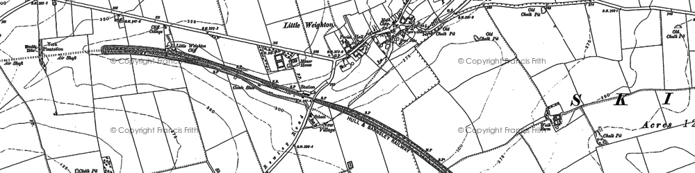 Old map of Little Weighton in 1853