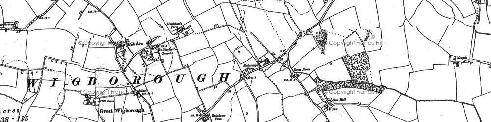 Old map of Abbot's Hall Saltings in 1895