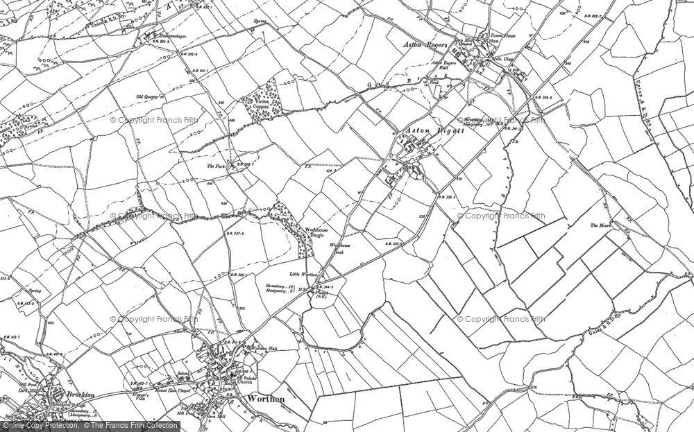 Old Map of Historic Map covering Aston Hill in 1881