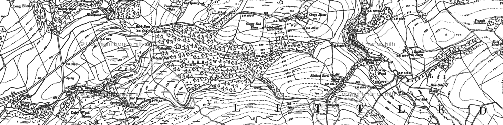 Old map of Baines Cragg in 1910