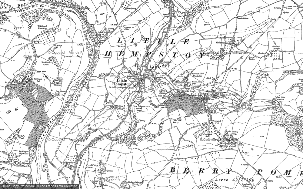 Old Map of Littlehempston, 1886 - 1887 in 1886