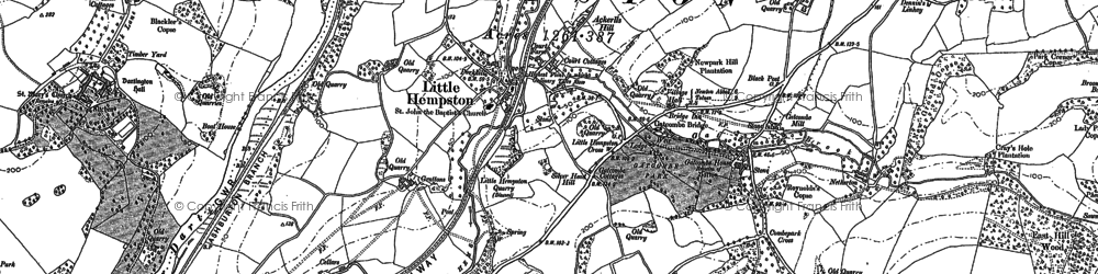 Old map of Littlehempston in 1886