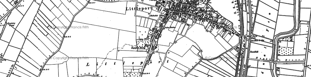 Old map of Wood Fen in 1886