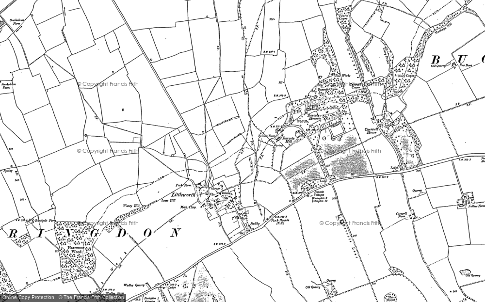 Old Map of Historic Map covering Barcote Manor in 1910