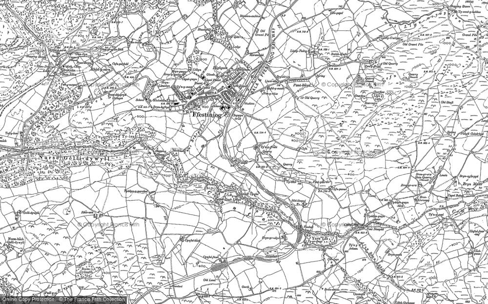 Old Map of Llan Ffestiniog, 1888 in 1888
