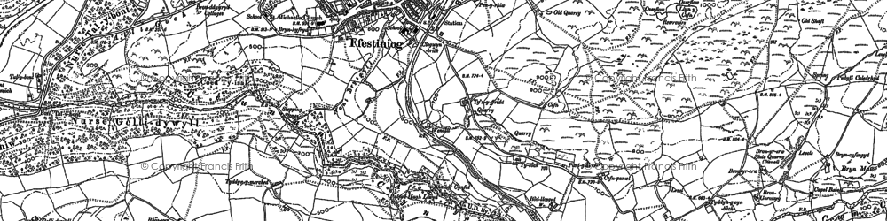 Old map of Llan Ffestiniog in 1888