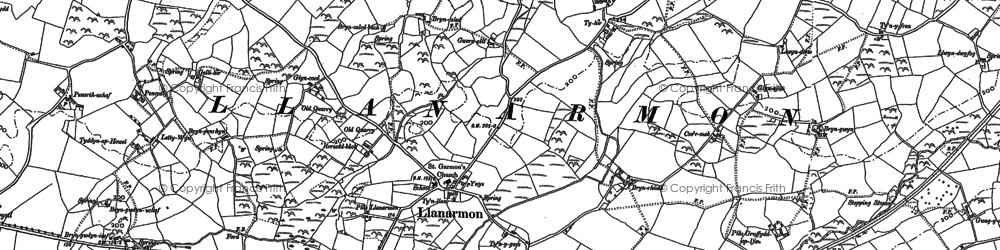 Old map of Llanarmon in 1888