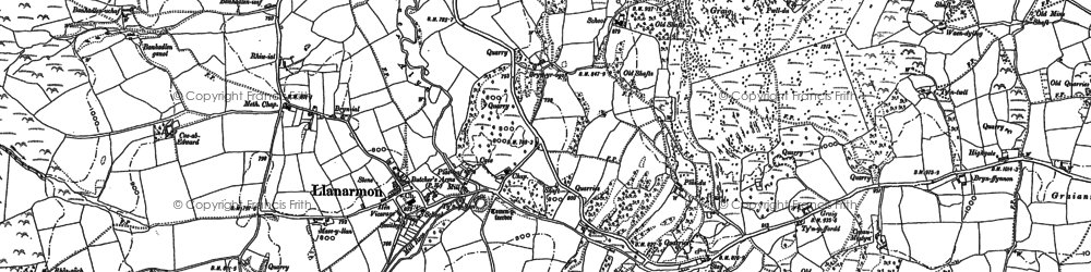 Old map of Llanarmon-yn-Ial in 1910