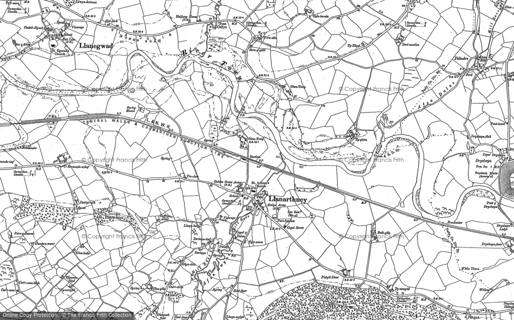 Old Map of Historic Map covering Afon Gwynon in 1886