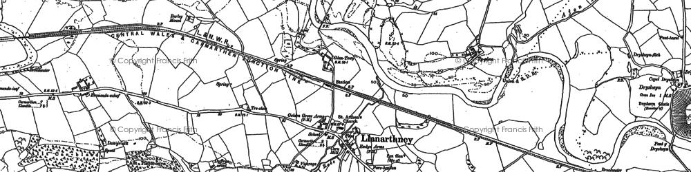 Old map of Afon Gwynon in 1886