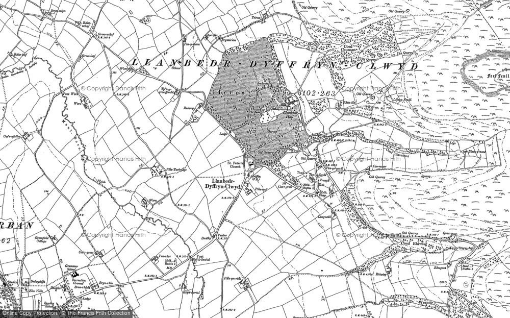Old Map of Historic Map covering Gyrn in 1899