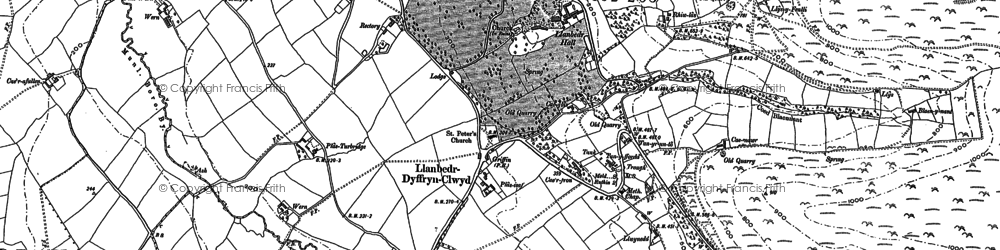 Old map of Llanbedr-Dyffryn-Clwyd in 1899