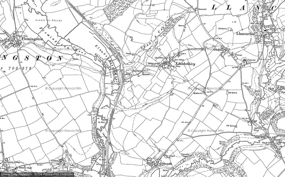 Map of Llanbethery, 1897 - 1914