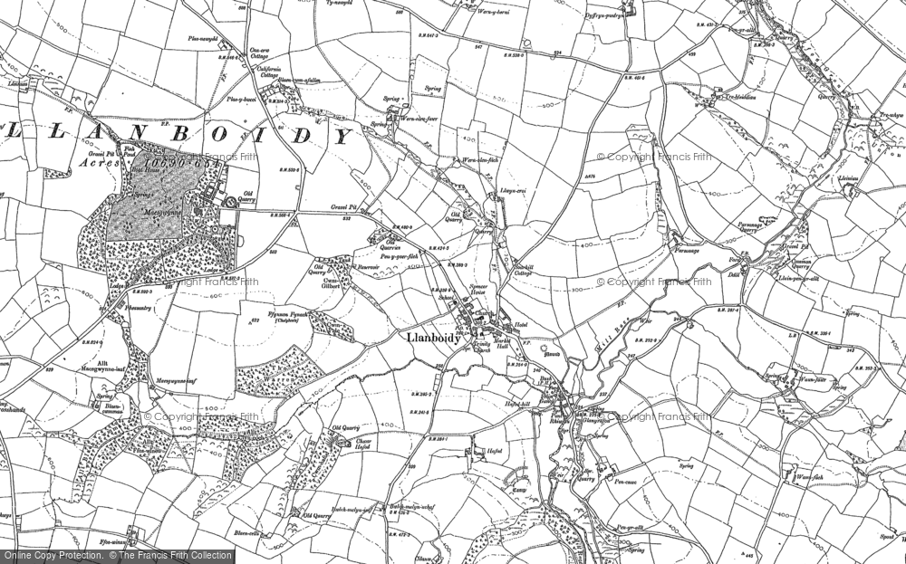 Old Map of Historic Map covering Afon Gronw in 1887